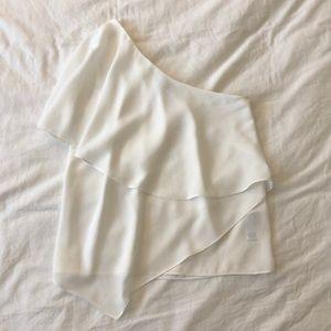 Asos White One Shoulder Asymmetrical Top